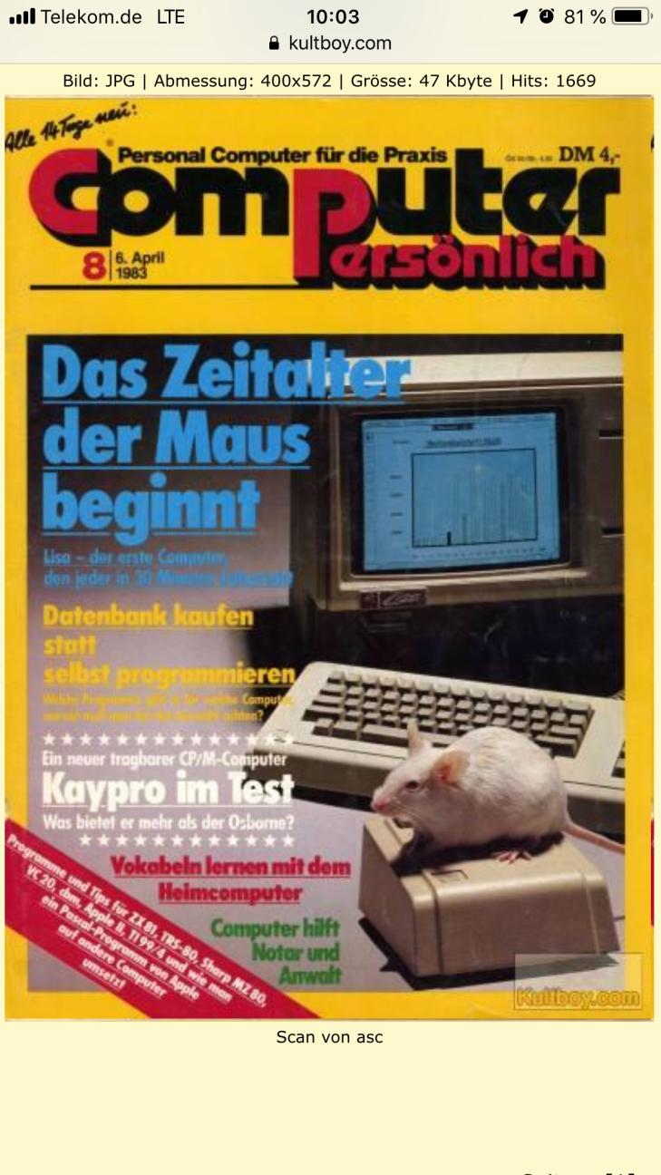Die Apple Lisa in der Computer Persönlich, Ausgabe 8 von 1983. Apple Computer im Laufe der Zeit