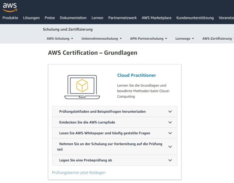 Webseite von aws mit Anleitungen zur Zertifizierung zum aws Cloud Practitioner.