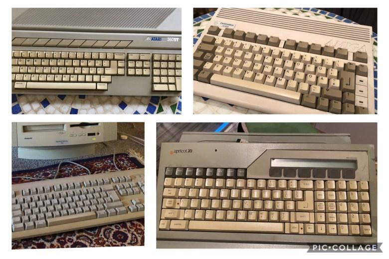 Collage von 16bit Computertastaturen der 80er Jahre. Entwicklung der Computertastaturen