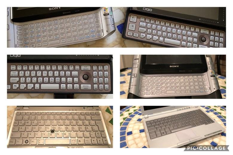 Collage von kompakten Computertastaturen ab 2000. Entwicklung der Computertastaturen