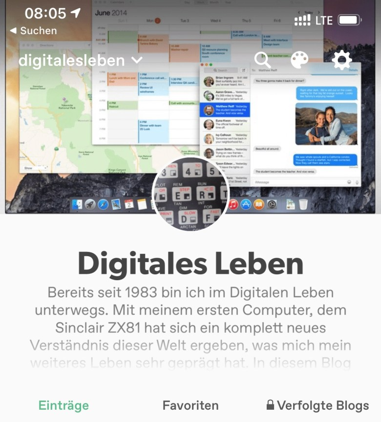 Screenshot meines tumblr Accounts digitalesleben. Digitales Leben in Vergangenheit, Gegenwart und Zukunft