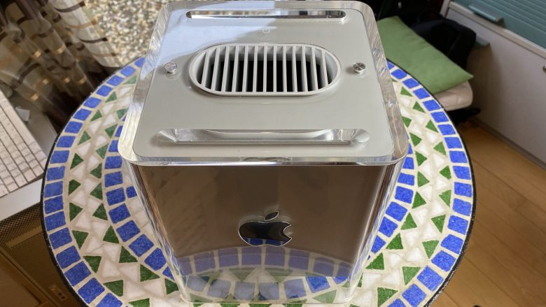 Der Power Mac Cube G4 in seiner ganzen Schönheit. Zwanzig Jahre später immer noch in gutem Zustand.