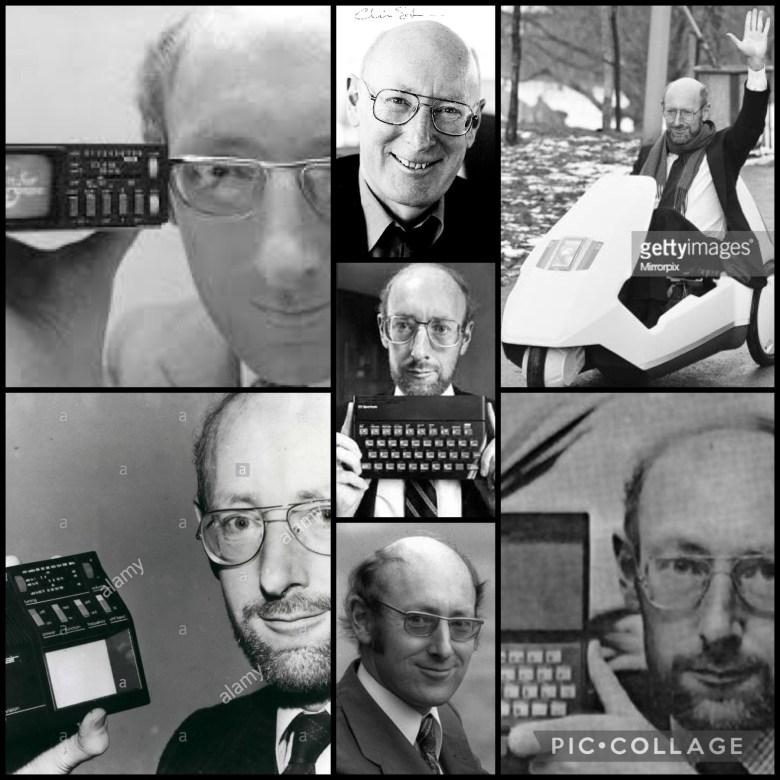 Sir Clive Sinclair. Fotokollage mit Fotos aus den letzten 60 Jahren - britische Computer der 80er