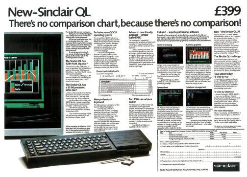 Doppelseitige Anzeige von Sir Clive Sinclair für den QL