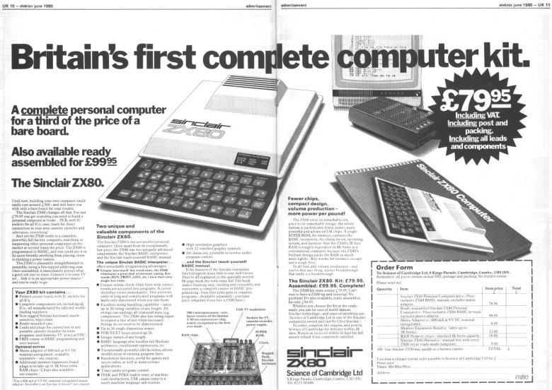 Doppelseitige Anzeige von Sir Clive Sinclair für den ZX80
