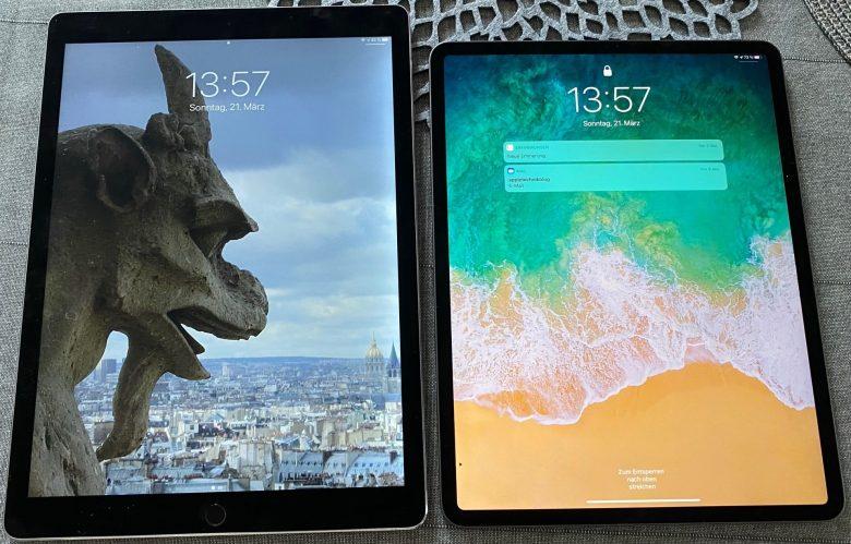 Größenvergleich von iPad Pro 1. Generation und 4. Generation