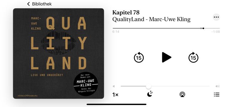 Ein Screenshot des Hörbuchs QualityLand von Marc-Uwe Kling