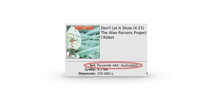 """Was bedeutet """"Passende AAC-Audiodatei"""" in iTunes?"""