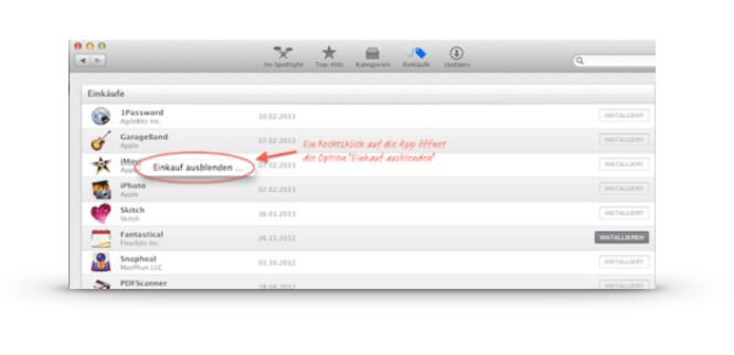 App Store: Apps aus- und wieder einblenden