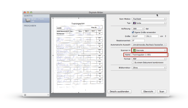 Dokumente direkt nach Evernote scannen