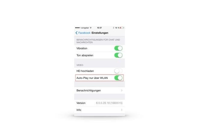 Facebook-App: Videos nicht automatisch laden