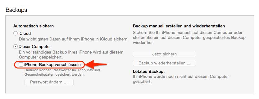 iPhone Backup verschlüsseln