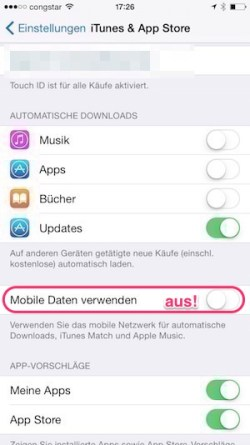 Store: Mobile Daten aus!