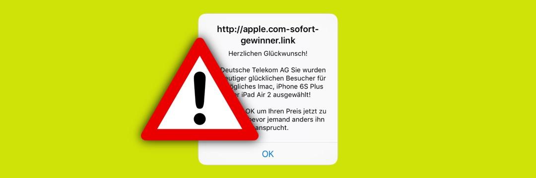 Achtung Spam: apple.com-sofort-gewinner.link
