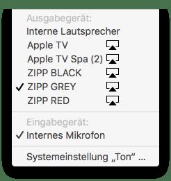 Mac AirPlay Lautsprecher Auswahl