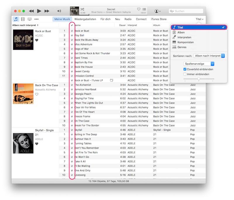 iTunes Titel-LIste mit Checkbox