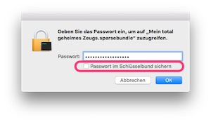 Passwort im Schlüsselbund sichern