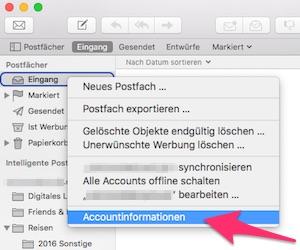 Mail Accountinformationen
