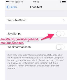 Links funktionieren nicht: JavaScript ausschalten