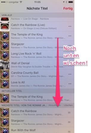 Apple Music: Liste nach unten ziehen