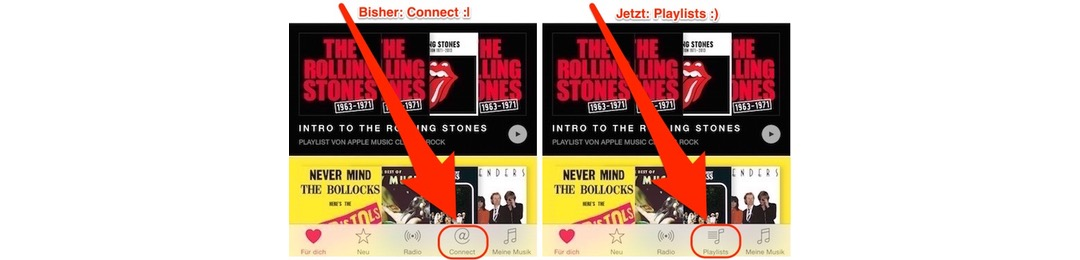 Music App: Wiedergabelisten statt Connect anzeigen (iOS 9)