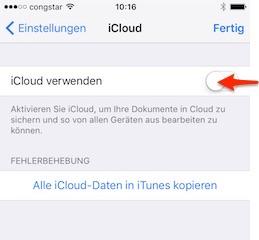 GoodNotes: iCloud ausschalten