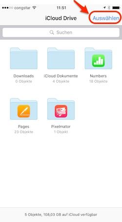 Neuen Ordner erstellen in der iCloud Drive App