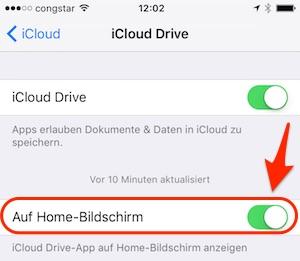 iCloud Drive App einschalten