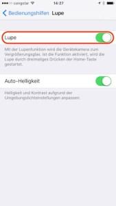 iOS 10 Lupe aktivieren