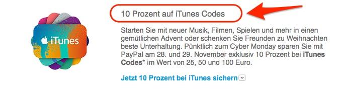 PayPal 10 % auf iTunes Gutscheine