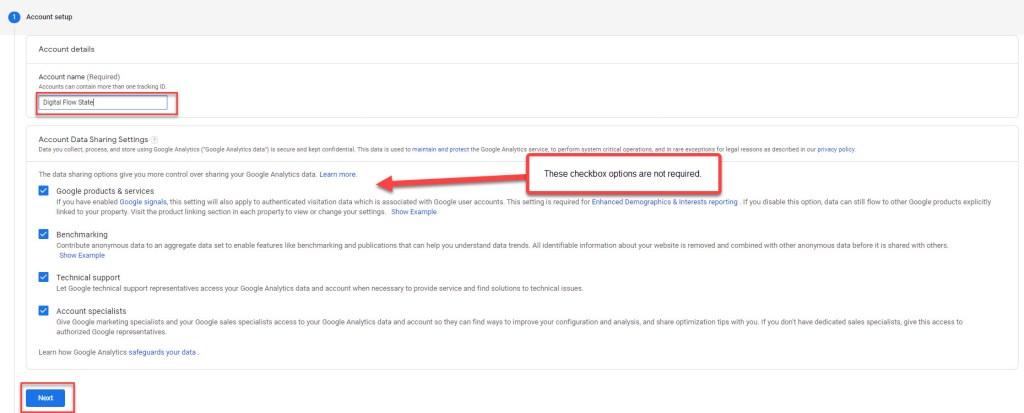 Google Analytics Account Setup Section