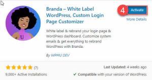 activate button for Branda WordPress Plugin