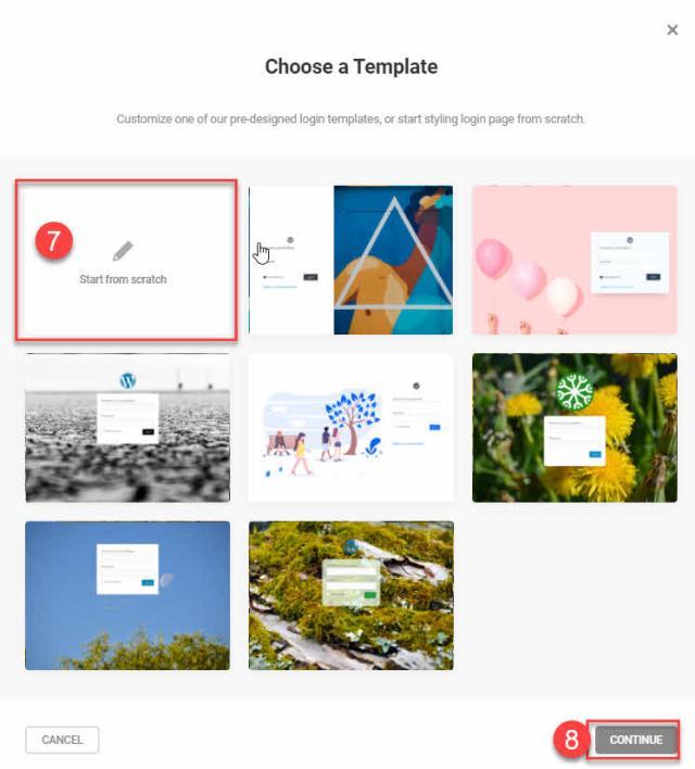 step 7 start from scratch customize wordpress login Branda