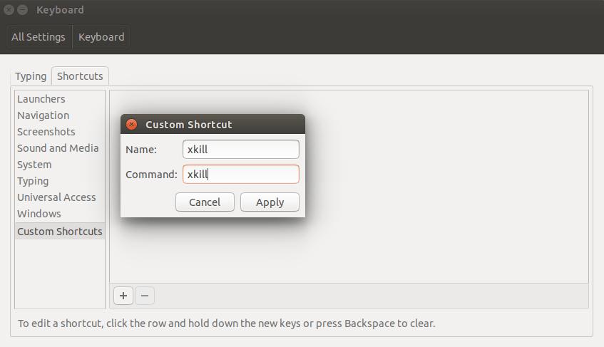 custom keyboard shortcut command