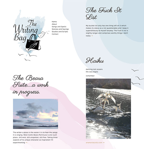 the writing bag wesbite design on wordpress west cork