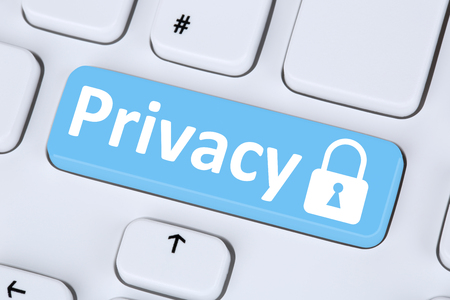 """An illustration showing a computer keyboard button that has the word """"privacy"""" next to a locked padlock icon."""