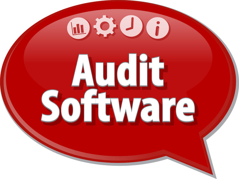 Red dialogue bubble that says Audit Software