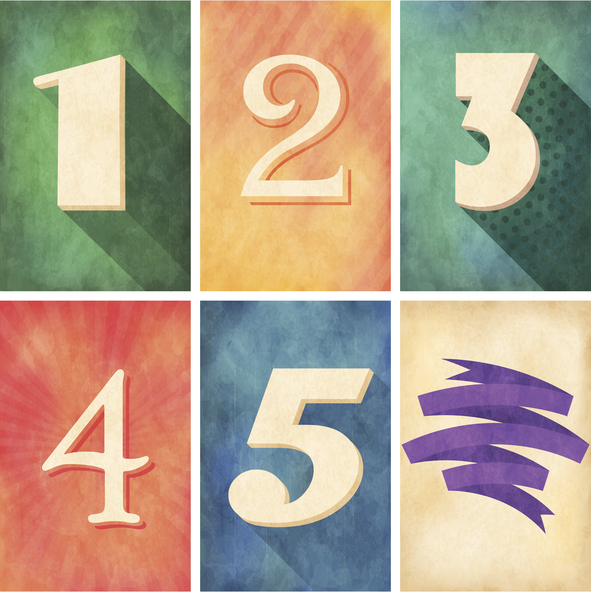 Illustration showing numbers 1 through 5 (to represent five factors.)