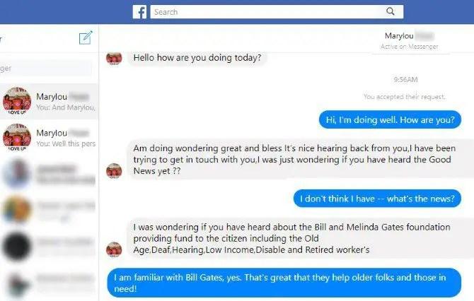 spot online fakes - Fake Facebook Message