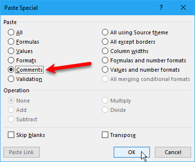 Select Comments on Paste Special dialog box in Excel