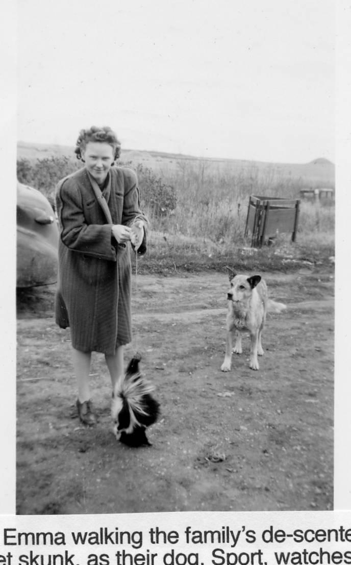Emma Anderson walking a skunk