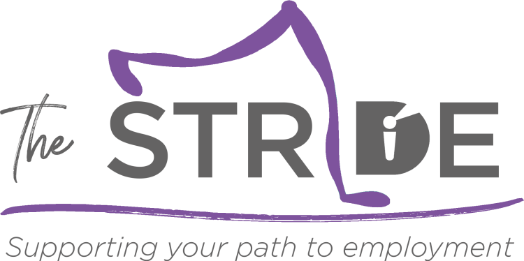 "Newsletter logo titled ""The Stride"" with slogan underneath reading ""Supporting your path to employment""."