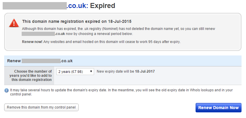 Expired domain in Fasthosts