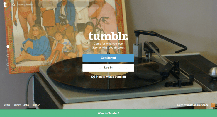 Tumblr.com home page screenshot 2017