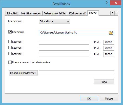 Plant Simulation licenc beállítás
