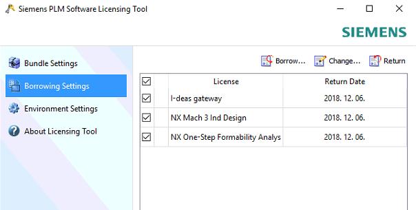 NX licensz kölcsönzés settings