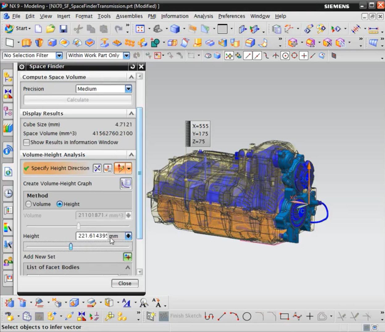 NX térfogat és kitöltési térfogat számítási módszerei