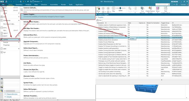 Ehhez a File\Utilities\Feature Toggles dialógus ablakban az Enables Planar Deburring funkció állapotát kell ON-ra kapcsolni.