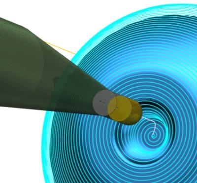 A spirál simítás folyamatos szerszámpályája hatékony megmunkálást és polír felületminőséget eredményez.