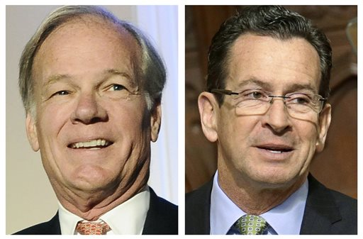 Republican challenger Tom Foley, left, and Democrat incumbent Dannel P. Malloy will both be on the ballot in November. (AP Photo/File)